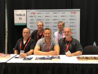 Jonathan Janz, Tim Waggoner, Hunter Shea, John Everson with Flame Tree Press Executive Editor Don D'Auria